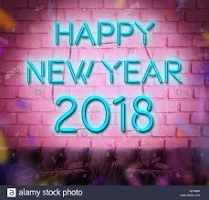 happy new year 2018 blue neon sign 3d renderiing on pink brick