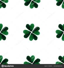 watercolor green four leaf clover leaves st patrick day