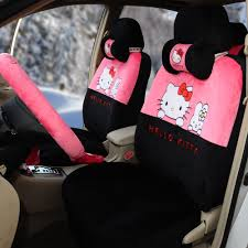 pink and black cars hello kitty 18pcs universal car seat covers soft plush pink black