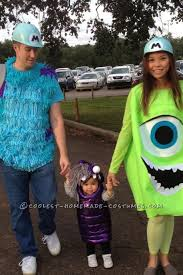 cool diy monsters family costume sully mike boo