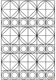 circles and squares ornament coloring page free printable