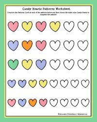 candy hearts patterns worksheet simon u0027s preschool pinterest