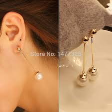 trendy earrings trendy stud earrings gold plated section pearl earrings