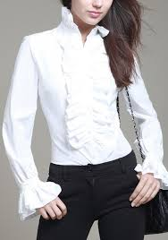high neck ruffle blouse white ruffle single breasted flare sleeve high neck office worker