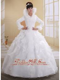 white ball gown high neck long sleeves wedding dress with imitated