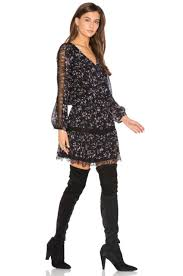 joie auggie long sleeve lace trim floral print silk blouson dress