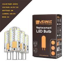 led light bulb replacement weanas 4x g4 base 48 led light bulb l 3 watt ac dc 12v 10 20v