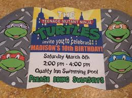 teenage mutant ninja turtles birthday invitations badbrya