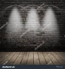Dark Brick Wall Background Dark Room Wood Floor And Brick Wall With Spot Lights Background