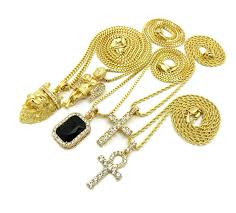 black gem necklace images 14k gold plated 5 chain combo iced out black gem iced out ankh JPG