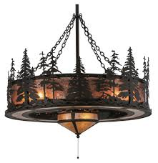 Wide Chandelier Meyda Tiffany 125745 Tall Pines Rustic Oil Rubbed Bronze Finish 45
