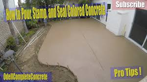 Dyed Concrete Patio by How To Pour Stamp And Seal A Colored Concrete Backyard Patio