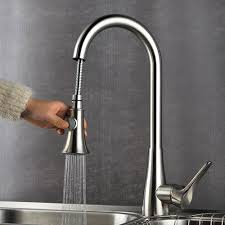 deck mounted kitchen sink faucet with pull down sprayer