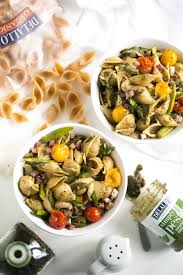 whole wheat pasta salad with pesto asparagus and roasted tomatoes