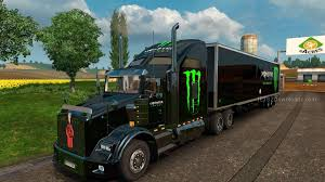kenworth europe monster energy skin pack for kenworth t800 ets 2 mods