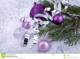 christmas decoration purple silver on white snow royalty free