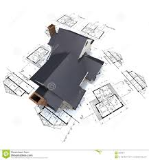 residential house on plans 3 stock photography image 2900072