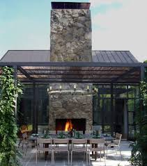 pergola roof ideas with outdoor fireplace patio contemporary and