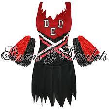 Zombie Cheerleader Womens New Dead Zombie Cheerleader Halloween Fancy Dress