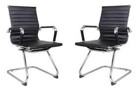 classic eames replica visitors chair in black pu leather chrome