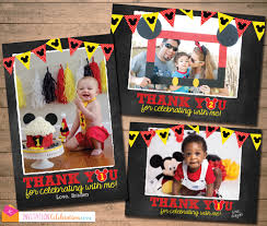 mickey mouse thank you cards mickey mouse chalkboard thank you photo card printable