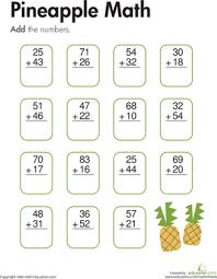 Digit Math Worksheets Pineapple Math Two Digit Addition Worksheet Education Com