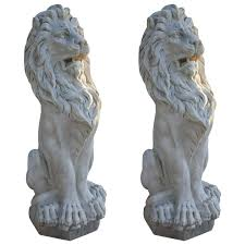 lions statues pair of 19th century marble lion statues for sale at