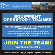 light equipment operator job description public works is now hiring for equipment operator i trainee apply