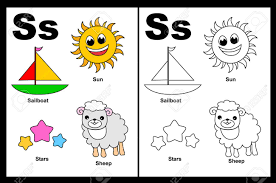 kids alphabet coloring book page with outlined clip arts to color