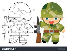 cartoon character soldier coloring page illustration stock
