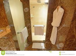 luxury shower room with white towels and bath robes stock photo bath brown glass luxury