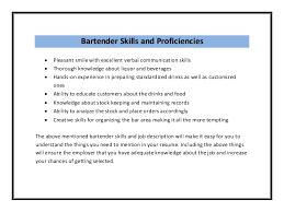 Bartenders Resume Peaceful Inspiration Ideas Bartender Resume Skills 1 Unforgettable
