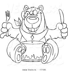vector of a cartoon birthday bear eating cake coloring page