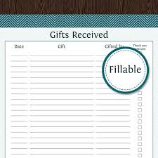 gifts received list fillable gift receiving tracker