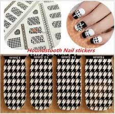 black white lace houndstooth design water nail decals 12 style