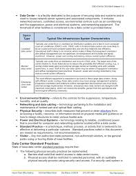Example Of General Resume by Attachment C 1 U2013 Data Center Standard Doc