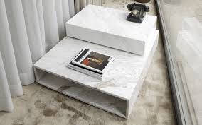 contemporary coffee table marble rectangular cube shaped