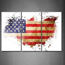 American Flag Home Decor 3 Piece Wall Art Painting American Flag In Its Country U0027s Outline