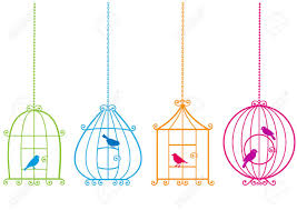 set of ornamental birdcages with birds royalty free cliparts