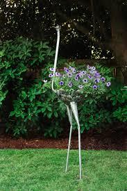 Tree Faces Garden Art Recycled Metal Ostrich Plant Holders African Sculpture Garden