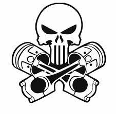 skull and pistons decal for car and home skull decals mechanic