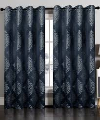 hlc me navy nadia damask jacquard curtain panel set of two zulily