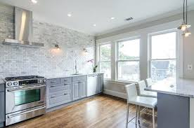 mini subway tile kitchen backsplash brick tile backsplash kitchen gray kitchen cabinets with marble mini