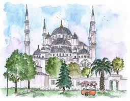 candace rose rardon watercolor sketch of the blue mosque istanbul