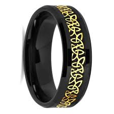 celtic mens wedding bands tully yellow gold celtic knot inlay men s ceramic wedding band