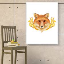 fox home decor watercolor cartoon deer fox rabbit art canvas poster print picture