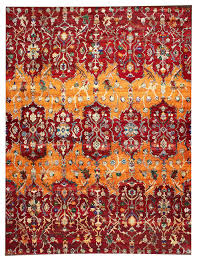 Sari Rug Tribal Eros Sari Silk Hand Knotted Red Rug 9 U0027x12 U0027 Mediterranean