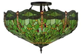 Flush Mount Stained Glass Ceiling Light Meyda 130673 Hanginghead Dragonfly Flush Mount Ceiling Fixture