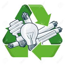 recycle halogen light bulbs used light bulbs with green recycling symbol in cartoon style