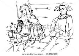 sketch men table writing on paper stock illustration 84456526